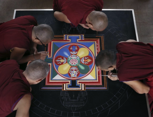 Monks making mandala as part of Dublin festival